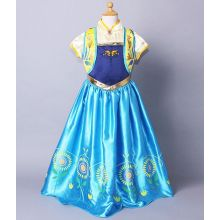 2015 New Frozen Fever Anna Kid Princess Dress Costume F040