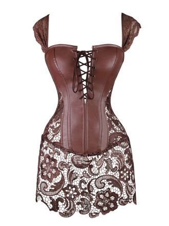Leather-lace corset babydoll BD1132-BR